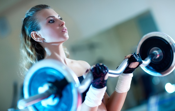 Picture exercise, blonde, female, fitness, gloves, weightlifting