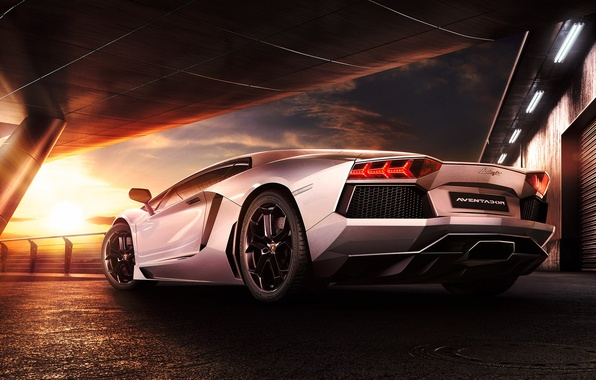 Picture Lamborghini, Sky, Sunset, Beauty, LP700-4, Aventador, Supercar, Reflection, Rear