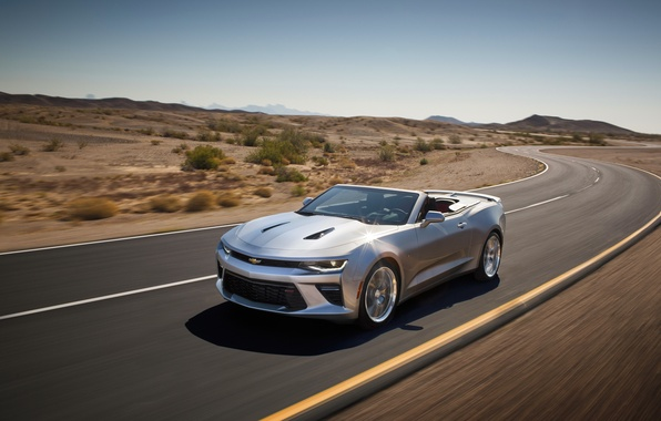 Picture car, Chevrolet, Camaro, in motion, Convertible