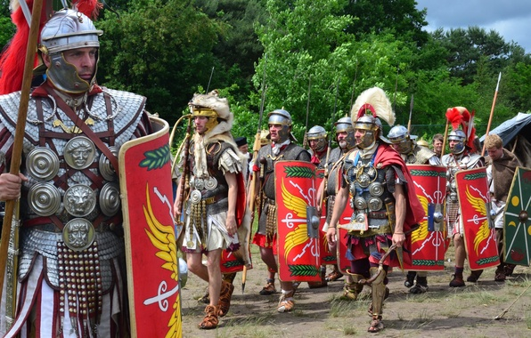 Picture shoes, armor, swords, shields, Darts, hats, Roman legionaries, military-historical reconstruction, tunic