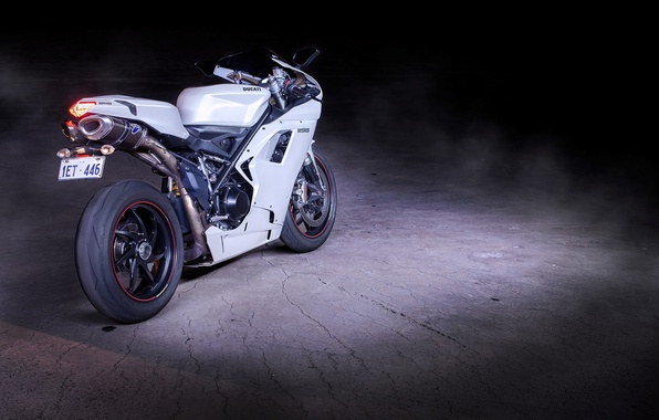 Picture motorcycle, white, rear view, bike, ducati, Ducati, supersport, 1198, Beaton