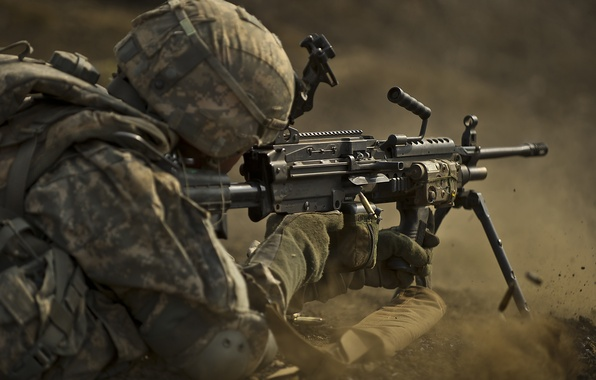 Wallpaper gun, soldier, machine gun