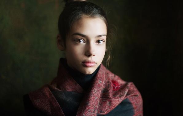 Picture portrait, girl, Studio, brown-eyed, Nastya