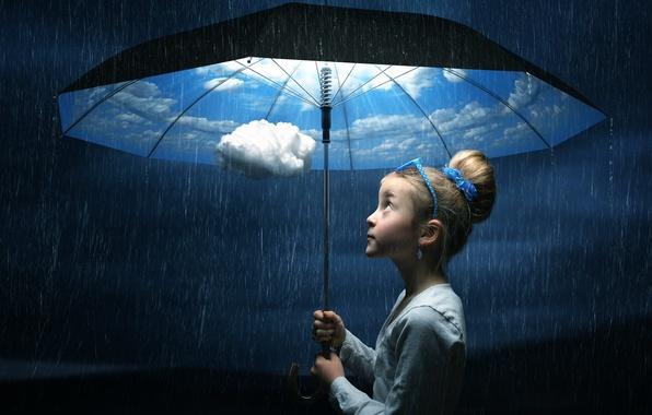 Picture umbrella, girl, The good weather umbrella
