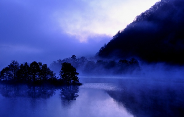 Picture the sky, trees, clouds, fog, reflection, blue, shore, the evening, Japan, haze, Japan, Fukushima, lake …