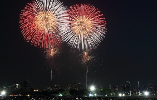 Picture night, the city, lights, home, salute, Japan, Tokyo, fireworks