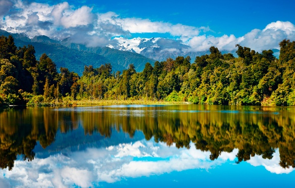 Picture autumn, forest, mountains, lake, New Zealand