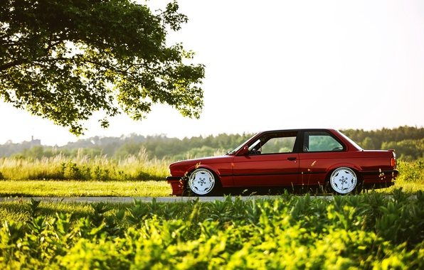 Picture car, BMW, red, tuning, E30, 3 series, a three-pointer