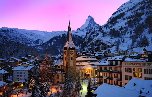 Picture the sky, trees, sunset, mountains, lights, rocks, home, the evening, Switzerland, Alps, glow, town, Zermatt, …