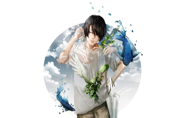 Picture fish, rain, umbrella, feathers, headphones, Guy