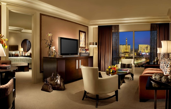 Picture room, sofa, bed, tower, room, TV, window, chairs, the hotel, curtains, table, Las Vegas, bedroom, …