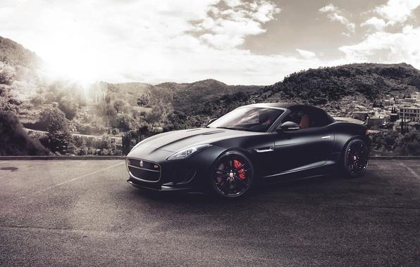 Picture mountains, black, Jaguar, Jaguar, black, front, F-Type, V8 S, Fernandez World Photography