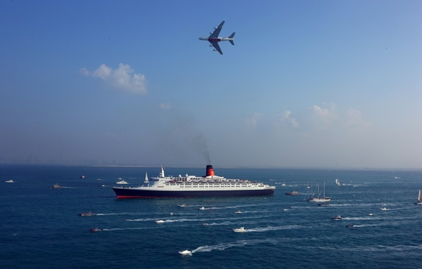 Picture The sky, Sea, The plane, Liner, Day, The ship, Military, A lot, Navy, A380, Passenger, …