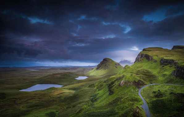 Picture clouds, mountains, clouds, rocks, hills, valley, Scotland, lake, Isle of Skye, region highland