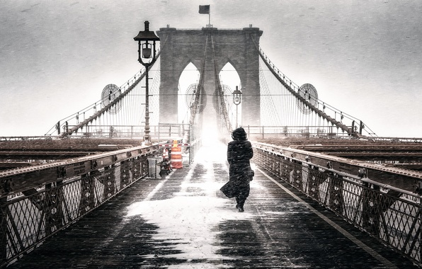 Picture girl, bridge, Blizzard, Brooklyn Freeze