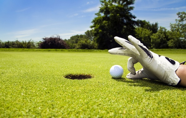 Picture the sky, lawn, sport, the game, the ball, hand, hole, Golf, glove, Golf