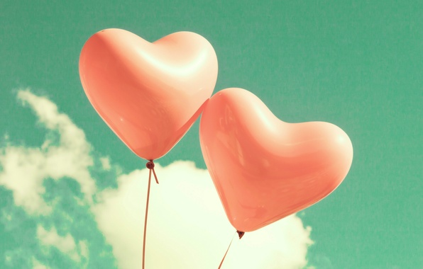 Picture the sky, clouds, love, balloons, heart, love, sky, heart, clouds, balloons