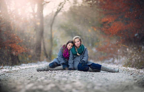 Picture road, autumn, snow, children, girls, bokeh