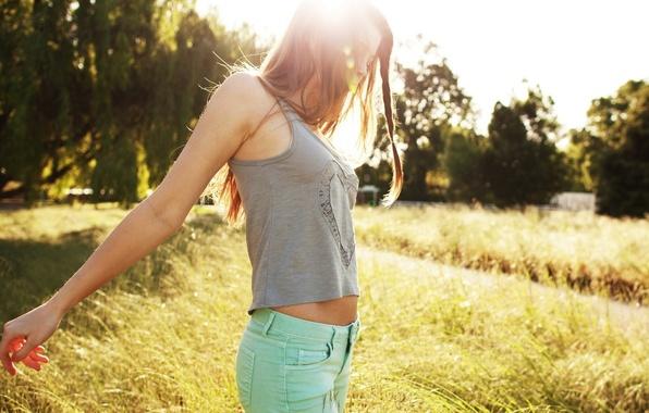 Picture grass, girl, the sun, trees, nature, Wallpaper, sweetheart, hair, Mike, brunette, girl, grass, beautiful, long ...