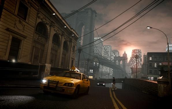 Picture sunset, bridge, rain, the evening, taxi, new York, Grand Theft Auto IV