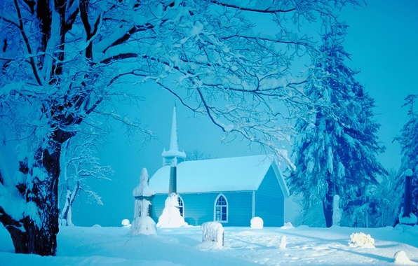 Picture winter, snow, Church, house, tree