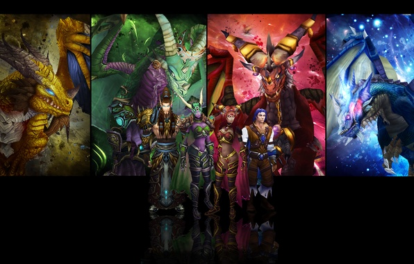 Picture wow, world of warcraft, WWII, cataсlysm, the dragon aspects