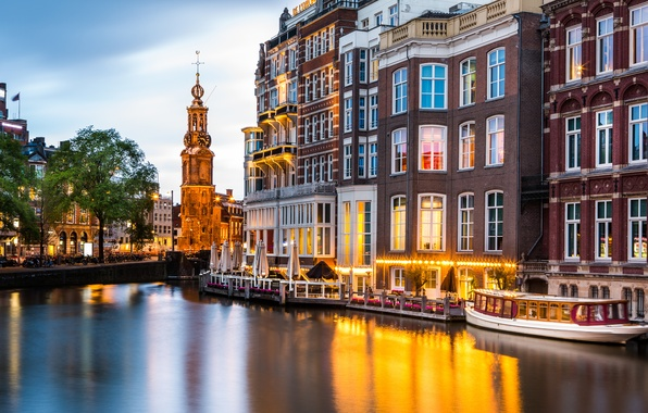 Picture building, Amsterdam, channel, Netherlands, promenade, Amsterdam, ship, Netherlands, Munt Tower, Munttoren