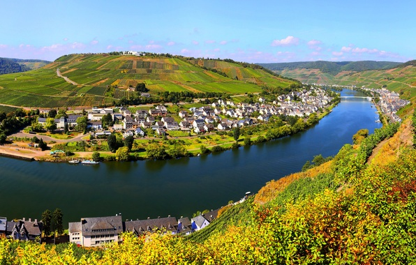 Picture the sky, clouds, bridge, nature, the city, river, field, home, Germany, Zell