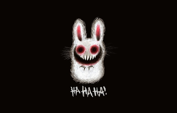 Picture figure, hare, laughter, teeth, ominous rabbit