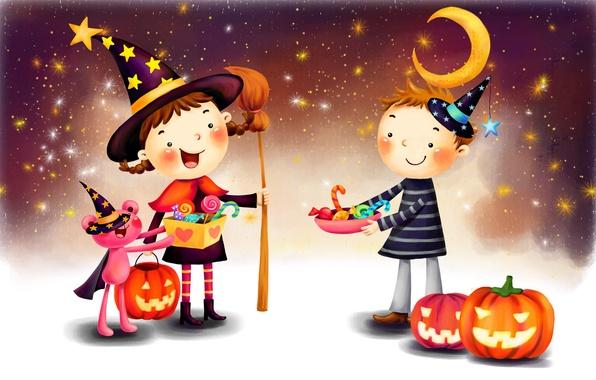 Picture fantasy, the moon, figure, stars, boy, girl, pumpkin, lollipops, braids, broom, cloak, Halloween, smile, hats, …