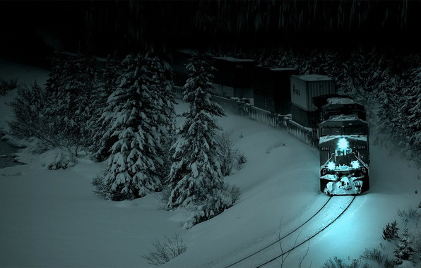 Picture snow, night, the darkness, rails, train, spruce, Forest, locomotive