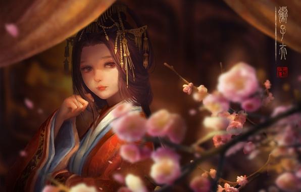 Picture girl, flowers, petals, Sakura, kimono, curtains, clips, digital painting
