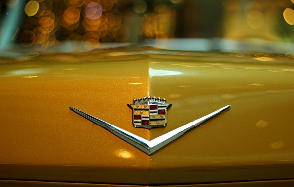 Picture machine, macro, night, icon, emblem, yellow, Cadillac, bokeh