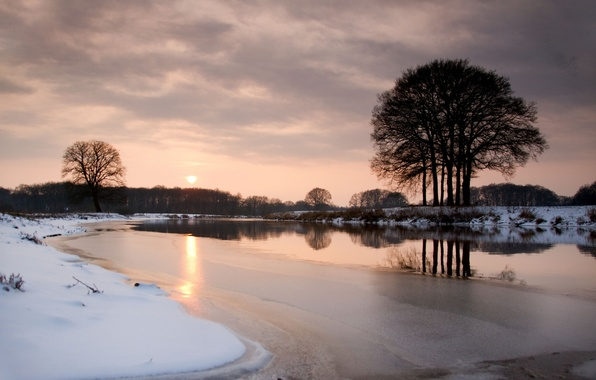 Picture ice, winter, snow, trees, sunset, river, the evening