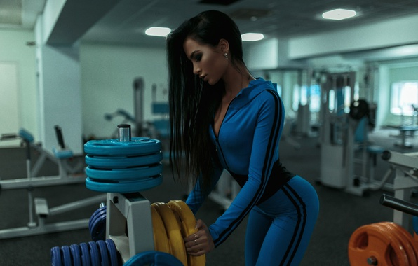 Picture girl, blue, sport, makeup, figure, slim, brunette, hairstyle, costume, sports, beautiful, fitness, iron, the gym, …
