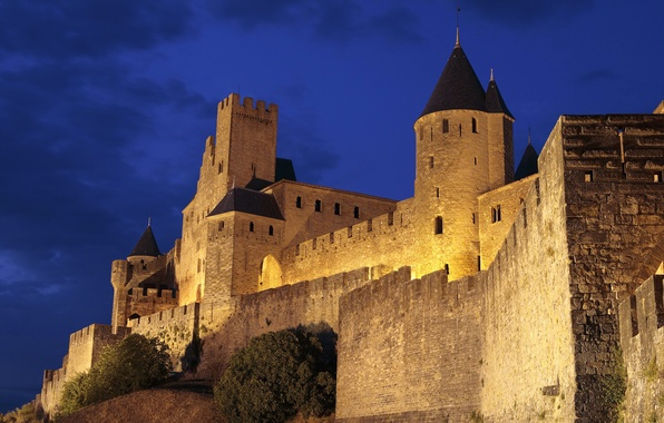 Picture the sky, night, castle, wall, tower, hill, fortress, France, Carcassonne