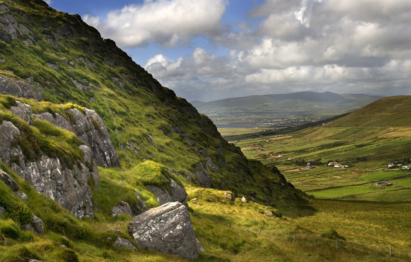 Picture greens, the sky, grass, clouds, mountains, stones, the slopes, view, field, home, valley, Ireland, Ireland, …