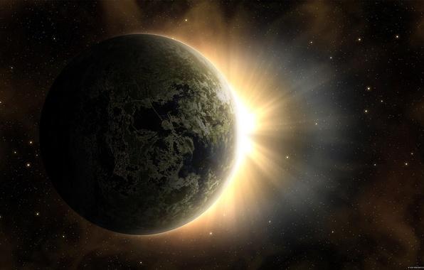 Picture the sun, stars, dawn, earth, planet