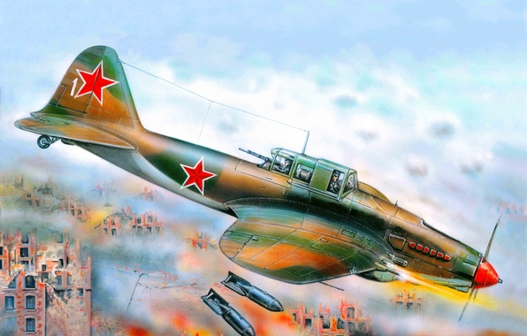Picture the plane, art, flying tank, attack, the, combat, under, WWII, created, Soviet, THE SOVIET AIR …