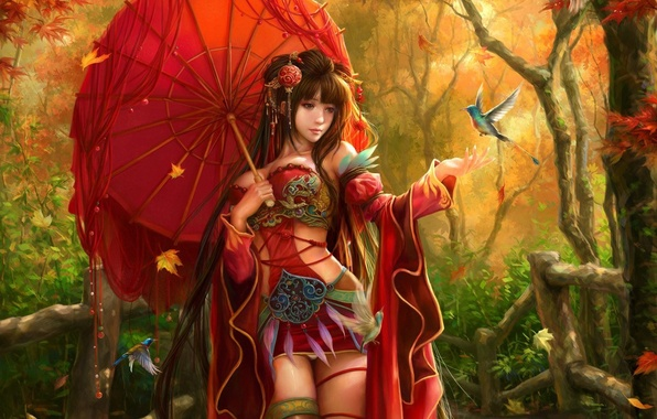 Picture autumn, leaves, girl, decoration, birds, umbrella, umbrella, feathers, art, sunmomo