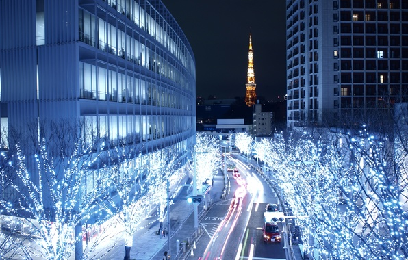 Picture the city, Tokyo, night city, the capital of Japan, Tokio