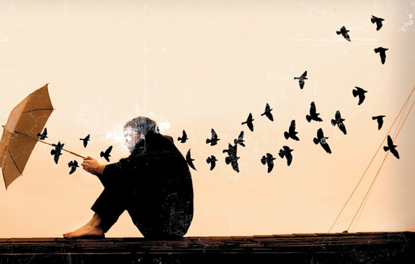 Picture sadness, birds, face, background, Wallpaper, umbrella, art, guy, picture