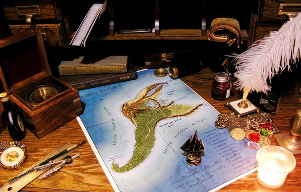 Picture table, pen, watch, map, sailboat, coins, spyglass, candle, line, the compass, scroll, compass. books