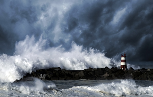 Picture wave, the sky, clouds, storm, the ocean, element, lighthouse