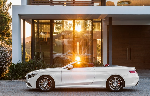 Picture the sun, Mercedes-Benz, white, convertible, side, Mercedes, AMG, S 63, S-Class, 2015, A217
