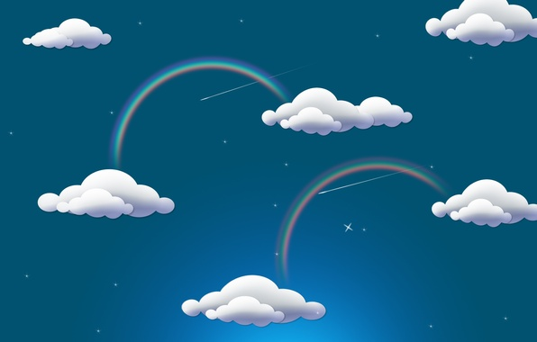 Picture clouds, rainbow, rainbow