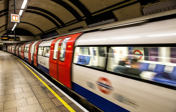 Picture metro, London, train, platform, subway, London, Underground, platform, Tube Arrival