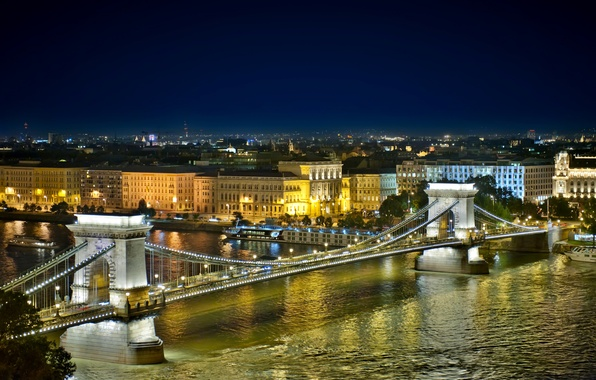 Picture night, the city, river, building, home, Hungary, Budapest, The Danube, Budapest, Chain bridge