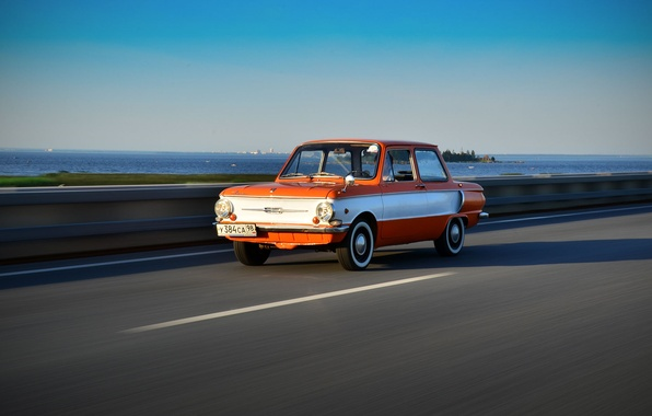 Picture road, retro, background, speed, USSR, car, eared, Zaporozhets, ZAZ
