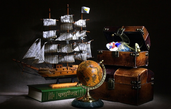 Picture model, sailboat, dictionary, chest, journey, globe